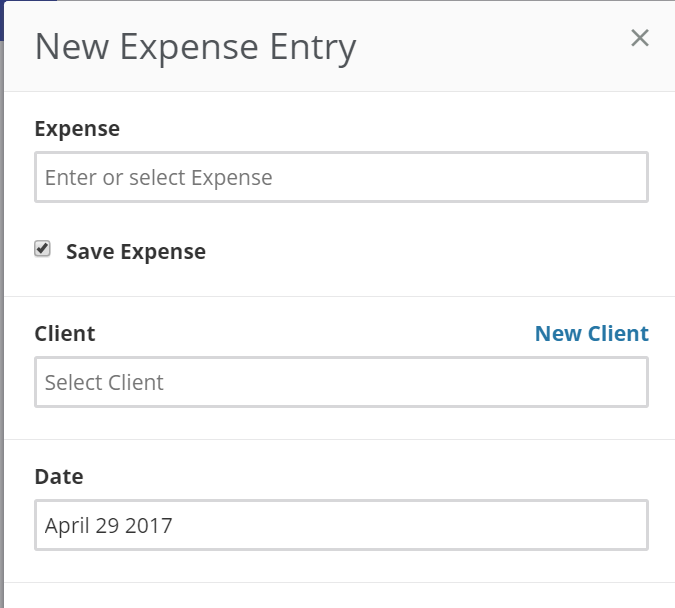 new expense entry